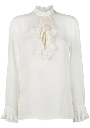 Gucci georgette and lace trim blouse - White