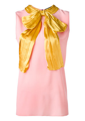 Gucci pussy bow sleeveless blouse - Pink & Purple