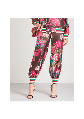 Floral-print relaxed-fit silk-twill trousers