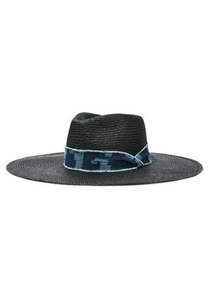 Rag & Bone Woman Frayed Denim-trimmed Straw Sunhat Black Size S/M