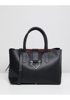 ASOS DESIGN leather soft lock tote bag with tablet compartment - Black