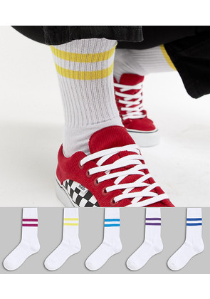 ASOS Sports Socks With Jewel Stripes 5 Pack - White