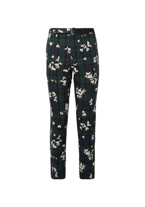 Slim-fit Bleached Black Watch Checked Linen Trousers