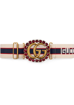 Gucci Gucci stripe belt with Double G and crystals - White