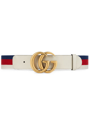 Gucci Sylvie Web belt with double G buckle - White