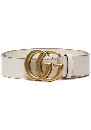 Gucci Leather belt with Double G buckle - White