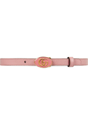 Gucci Leather belt with oval enameled buckle - Pink & Purple