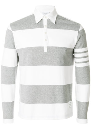 Thom Browne Rugby Stripe Relaxed Fit Long Sleeve Polo - Grey