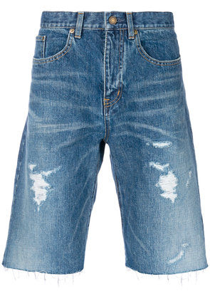 Saint Laurent distressed denim shorts - Blue