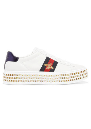 Gucci - Ace Embellished Leather Platform Sneakers - White