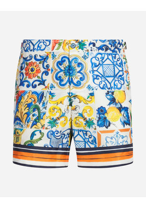 Dolce & Gabbana Beachwear - LONG PRINTED SWIMMING TRUNKS MAJOLICA PRINT
