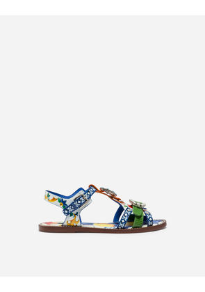 Dolce & Gabbana Sandals and Wedges - PRINTED PATENT LEATHER SANDALS WITH BEJEWELED BUCKLES MAJOLICA PRINT