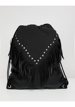 ASOS DESIGN festival drawstring backpack in black with aztec and studs - Black