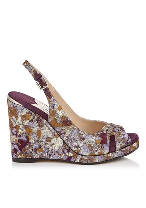 AMELY 105 Grape Mix Painterly Brocade and Suede Slingback Wedges