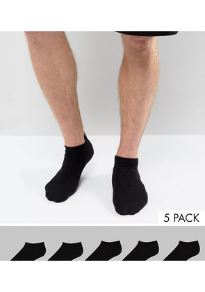 ASOS Trainer Socks In Black 5 Pack SAVE - Black