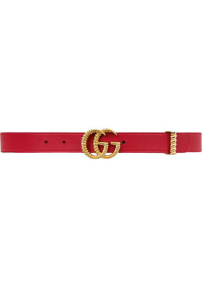 Gucci Leather belt with torchon Double G buckle - Red