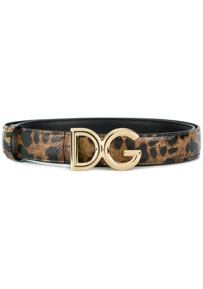 Dolce & Gabbana leopard print logo buckle belt - Brown