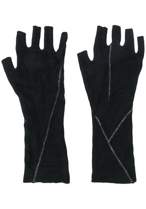 Thom Krom contrast-stitched fingerless gloves - Black