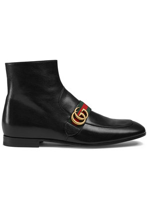 Gucci Leather boots with Double G - Black