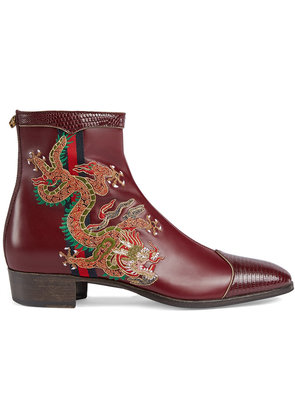 Gucci Leather boot with dragon - Red