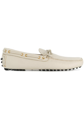 Car Shoe bow tie loafers - White
