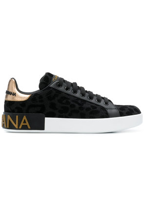 Dolce & Gabbana leopard lace-up sneakers - Black