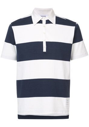 Thom Browne Short Sleeve Polo With 4-Bar Stripe In Blue And White