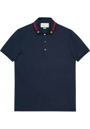 Gucci Cotton polo with Web and bee - Blue