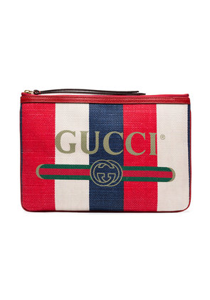 Gucci blue and red logo print canvas clutch bag - Unavailable