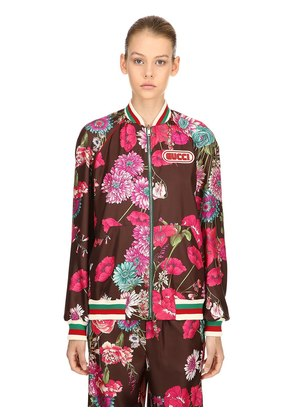 REVERSIBLE BOUQUET TWILL BOMBER JACKET
