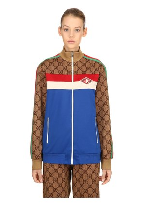 GG PRINTED ZIP-UP JERSEY TRACK JACKET
