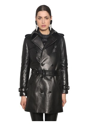 DOUBLE BREAST NAPPA LEATHER TRENCH COAT
