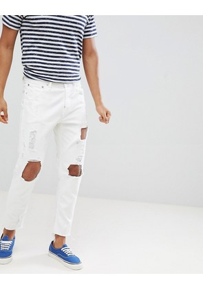 Jack & Jones Distressed Jeans In Tapered Fit With Raw Hem - White denim