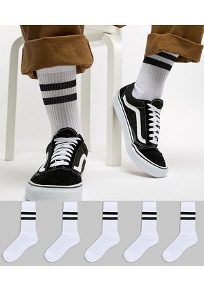 ASOS Sports Style Socks In White With Stripes 5 Pack - White