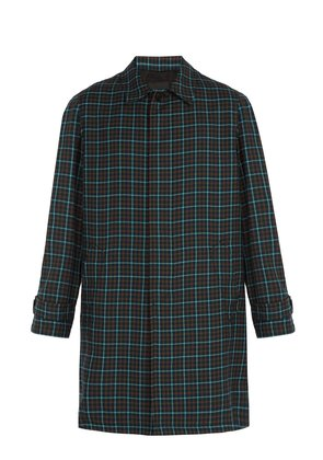 Single-breasted check wool overcoat