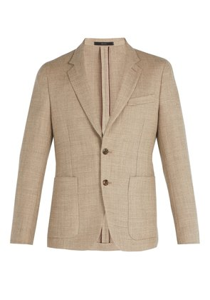 Single-breasted wool-blend blazer