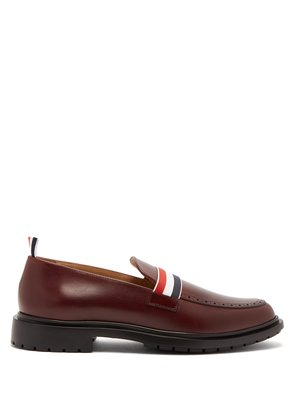 Web strap leather loafers