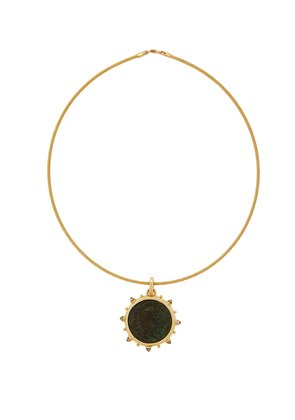 Nero 18kt gold coin and moonstone choker
