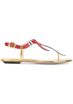 Gucci snake flat sandals - Red