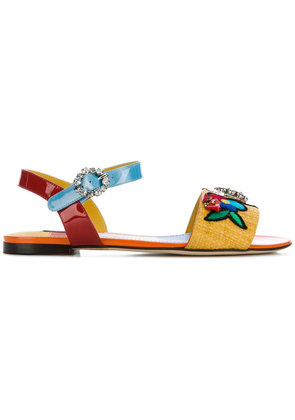 Dolce & Gabbana embroidered flat sandals - Multicolour