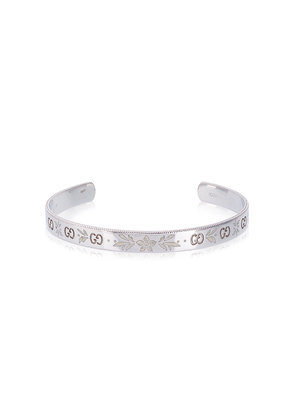 Gucci White Gold Floral Bangle - Metallic