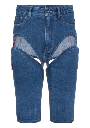 Y / Project Blue denim shorts with cut out detail