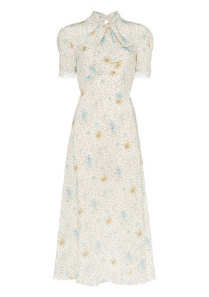 Miu Miu silk printed pussybow midi dress - Nude & Neutrals