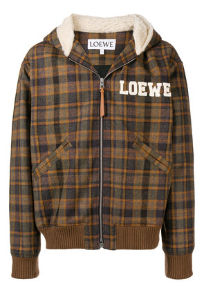Loewe embroidered tartan bomber jacket - Brown
