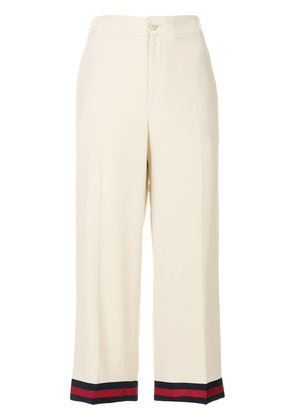 Gucci web-trimmed trousers - Nude & Neutrals
