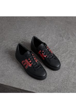 Burberry Logo Print Leather Sneakers, Size: 39.5, Black
