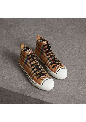 Burberry Rainbow Vintage Check High-top Sneakers, Size: 44.5, Yellow