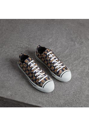 Burberry Tiled Archive Print Cotton Sneakers, Size: 40