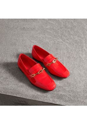 Burberry Link Detail Patent Leather Loafers, Size: 36, Red