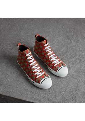 Burberry Tiled Archive Print Cotton High-top Sneakers, Size: 39.5